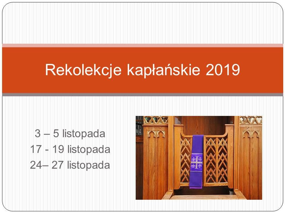 Rekolekcje kapłańskie 2019